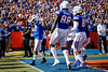 Florida Gators running back Lamical Perine (2) celebrates after a touchdown run as the Gators faced and defeat the Vanderbilt Commodores 56-0 at Ben Hill Griffin Stadium in Gainesville, Florida on November 9th, 2019 (Photo by David Bowie/Gatorcountry)