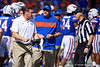 Florida Gators head coach Dan Mullen yelling a referee about a bad call as the Gators faced and defeat the Vanderbilt Commodores 56-0 at Ben Hill Griffin Stadium in Gainesville, Florida on November 9th, 2019 (Photo by David Bowie/Gatorcountry)