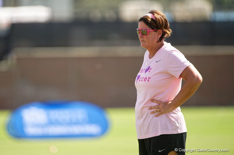 Florida Gators head coach Becky Burleigh as the Gators defeat the Kentucky Wildcats 4-2 at Donald R. Dizney Stadium in Gainesville, Florida on October 13th, 2019 (Photo by David Bowie/Gatorcountry)