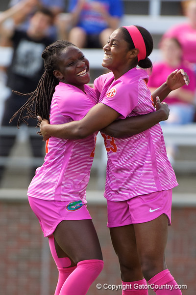 Florida Gators forward Deanne Rose (21) and Florida Gators forward Kouri Peace (23) celebrate as the Gators go up 3-1 as the Gators defeat the Kentucky Wildcats 4-2 at Donald R. Dizney Stadium in Gainesville, Florida on October 13th, 2019 (Photo by David Bowie/Gatorcountry)