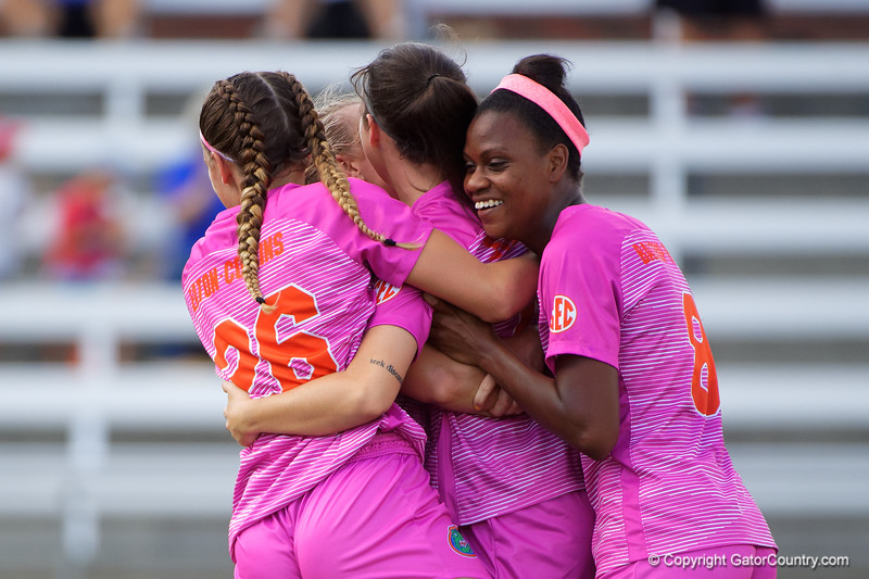 Florida Gators midfielder Carina Baltrip-Reyes (8) celebrates as the Gators tie the game 1-1 as the Gators defeat the Kentucky Wildcats 4-2 at Donald R. Dizney Stadium in Gainesville, Florida on October 13th, 2019 (Photo by David Bowie/Gatorcountry)
