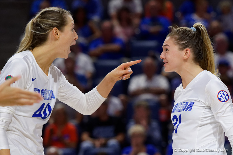 Florida Gators Holly Carlton (40) and Florida Gators setter Marlie Monserez (21) as the Gators faced the #1 Stanford Cardinals at the Stephen C. O'Connell Center in Gainesville, Florida on September 4th, 2019 (Photo by David Bowie/Gatorcountry)