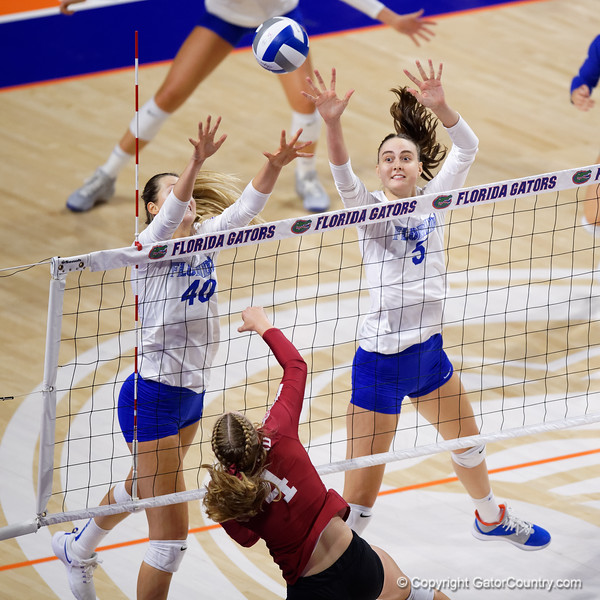 Florida Gators middle blocker Rachael Kramer (5) as the Gators faced the #1 Stanford Cardinals at the Stephen C. O'Connell Center in Gainesville, Florida on September 4th, 2019 (Photo by David Bowie/Gatorcountry)