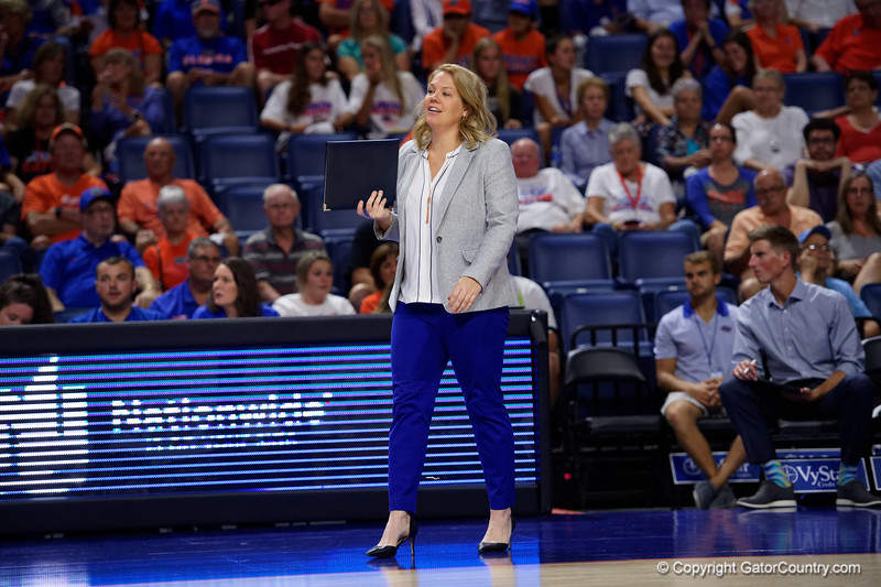 Florida Gators associate head coach Shannon Wells as the Gators faced the #1 Stanford Cardinals at the Stephen C. O'Connell Center in Gainesville, Florida on September 4th, 2019 (Photo by David Bowie/Gatorcountry)