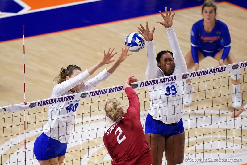 Florida Gators Holly Carlton (40) and Florida Gators middle blocker Lauren Dooley (99) as the Gators faced the #1 Stanford Cardinals at the Stephen C. O'Connell Center in Gainesville, Florida on September 4th, 2019 (Photo by David Bowie/Gatorcountry)