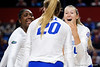 Florida Gators middle blocker Lauren Dooley (99) and Florida Gators Holly Carlton (40) as the Gators faced the #1 Stanford Cardinals at the Stephen C. O'Connell Center in Gainesville, Florida on September 4th, 2019 (Photo by David Bowie/Gatorcountry)