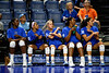 Florida Gators middle blocker Darrielle King (2), Florida Gators defensive specialist Chanelle Hargreaves (23), Florida Gators Riley Fischer (31),Florida Gators middle blocker Lauren Dooley (99) and Florida Gators right side hitter Haley Warner (32) dancing during pregame as the Gators faced the #1 Stanford Cardinals at the Stephen C. O'Connell Center in Gainesville, Florida on September 4th, 2019 (Photo by David Bowie/Gatorcountry)