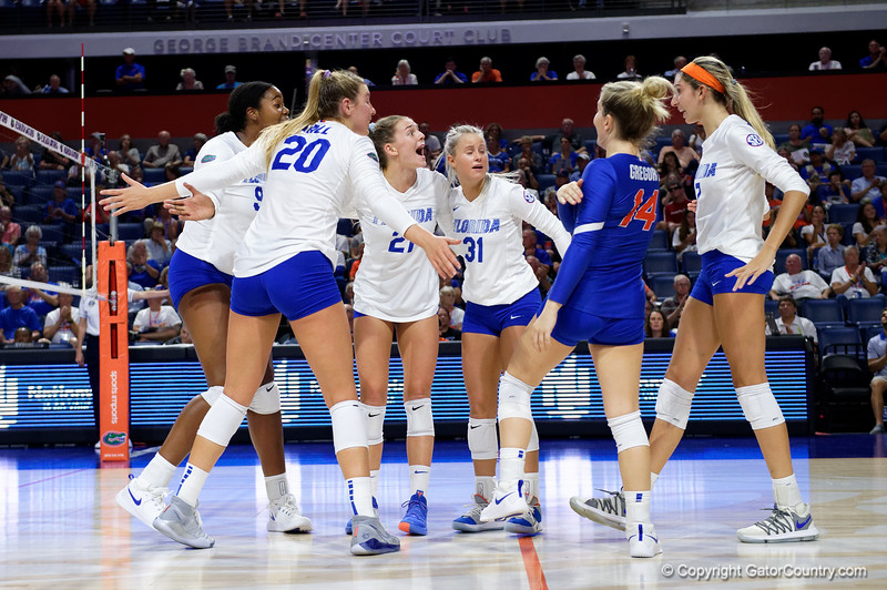Florida Gators middle blocker Lauren Dooley (99),Florida Gators outside hitter Thayer Hall (20),Florida Gators setter Marlie Monserez (21),Florida Gators Riley Fischer (31),Florida Gators libero Allie Gregory (14) and Florida Gators outside hitter Paige Hammons (7) as the Gators faced the #1 Stanford Cardinals at the Stephen C. O'Connell Center in Gainesville, Florida on September 4th, 2019 (Photo by David Bowie/Gatorcountry)