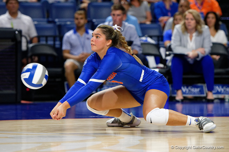 Florida Gators Paula Cerame (19) as the Gators faced the #1 Stanford Cardinals at the Stephen C. O'Connell Center in Gainesville, Florida on September 4th, 2019 (Photo by David Bowie/Gatorcountry)