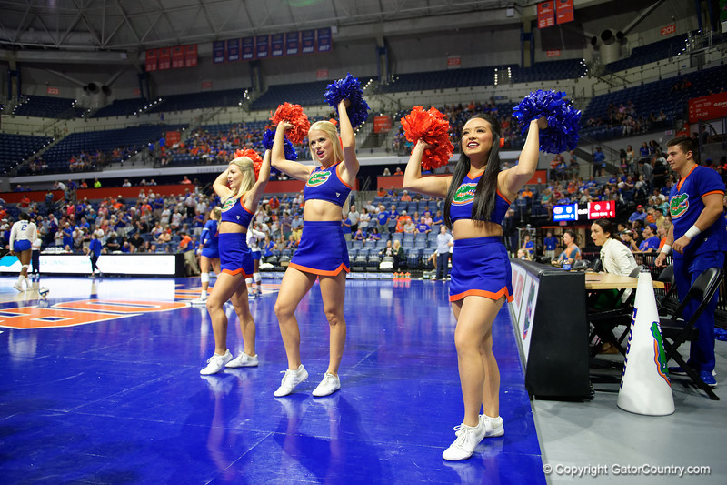 The Florida Gators cheerleaders cheer on as the Gators faced the #1 Stanford Cardinals at the Stephen C. O'Connell Center in Gainesville, Florida on September 4th, 2019 (Photo by David Bowie/Gatorcountry)