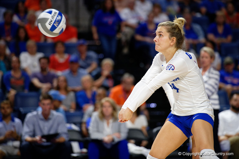 Florida Gators libero Allie Gregory (14) as the Gators faced the #1 Stanford Cardinals at the Stephen C. O'Connell Center in Gainesville, Florida on September 4th, 2019 (Photo by David Bowie/Gatorcountry)
