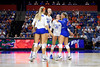 Florida Gators outside hitter Paige Hammons (7),Florida Gators Holly Carlton (40),Florida Gators setter Marlie Monserez (21) and Florida Gators Paula Cerame (19) celebrate as the Gators faced the #1 Stanford Cardinals at the Stephen C. O'Connell Center in Gainesville, Florida on September 4th, 2019 (Photo by David Bowie/Gatorcountry)