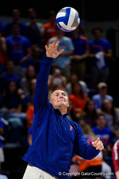 Florida Gators football head coach Dan Mullen takes the ceremonial first serve as the Gators faced the #1 Stanford Cardinals at the Stephen C. O'Connell Center in Gainesville, Florida on September 4th, 2019 (Photo by David Bowie/Gatorcountry)