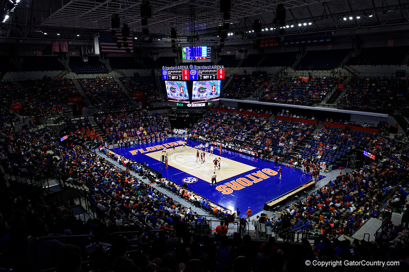 Exactech Arena overview as the Gators faced the #1 Stanford Cardinals at the Stephen C. O'Connell Center in Gainesville, Florida on September 4th, 2019 (Photo by David Bowie/Gatorcountry)