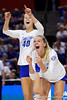 Florida Gators setter Marlie Monserez (21) and Florida Gators Holly Carlton (40) celebrating as the Gators faced the #1 Stanford Cardinals at the Stephen C. O'Connell Center in Gainesville, Florida on September 4th, 2019 (Photo by David Bowie/Gatorcountry)