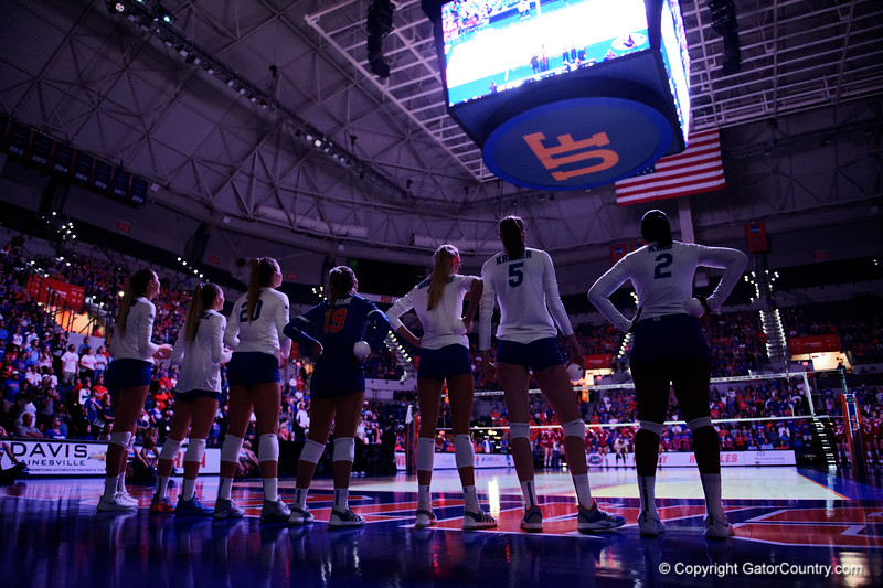 The Florida Gators womens volleyball team starters line up beofre the game as the Gators faced the #1 Stanford Cardinals at the Stephen C. O'Connell Center in Gainesville, Florida on September 4th, 2019 (Photo by David Bowie/Gatorcountry)