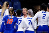 Florida Gators head coach Mary Wise coaching up her team as the Gators faced the #1 Stanford Cardinals at the Stephen C. O'Connell Center in Gainesville, Florida on September 4th, 2019 (Photo by David Bowie/Gatorcountry)