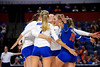 Florida Gators outside hitter Paige Hammons (7),Florida Gators setter Marlie Monserez (21),Florida Gators outside hitter Thayer Hall (20),Florida Gators middle blocker Rachael Kramer (5) and Florida Gators Paula Cerame (19) celebrating as the Gators faced the #1 Stanford Cardinals at the Stephen C. O'Connell Center in Gainesville, Florida on September 4th, 2019 (Photo by David Bowie/Gatorcountry)