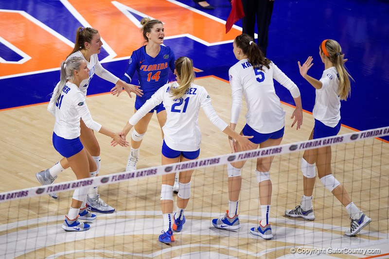 Florida Gators Riley Fischer (31),Florida Gators outside hitter Thayer Hall (20),Florida Gators libero Allie Gregory (14),Florida Gators setter Marlie Monserez (21),Florida Gators middle blocker Rachael Kramer (5) and Florida Gators outside hitter Paige Hammons (7) celebrate as the Gators faced the #1 Stanford Cardinals at the Stephen C. O'Connell Center in Gainesville, Florida on September 4th, 2019 (Photo by David Bowie/Gatorcountry)