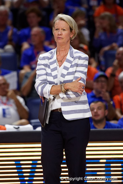 Florida Gators head coach Mary Wise as the Gators faced the #1 Stanford Cardinals at the Stephen C. O'Connell Center in Gainesville, Florida on September 4th, 2019 (Photo by David Bowie/Gatorcountry)