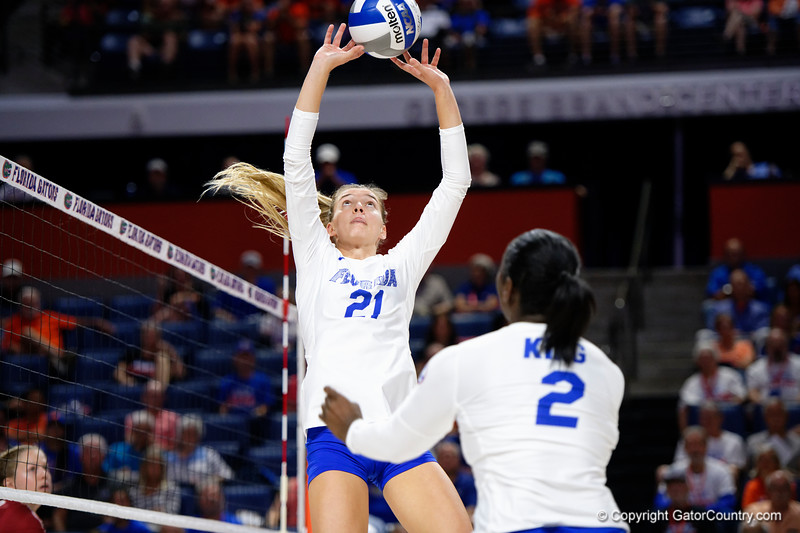Florida Gators setter Marlie Monserez (21) as the Gators faced the #1 Stanford Cardinals at the Stephen C. O'Connell Center in Gainesville, Florida on September 4th, 2019 (Photo by David Bowie/Gatorcountry)