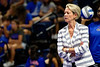 Florida Gators head coach Mary Wise watches on as the Gators faced the #1 Stanford Cardinals at the Stephen C. O'Connell Center in Gainesville, Florida on September 4th, 2019 (Photo by David Bowie/Gatorcountry)