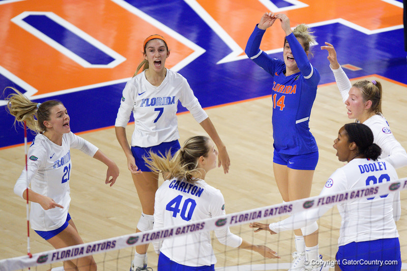 Florida Gators setter Marlie Monserez (21),Florida Gators outside hitter Paige Hammons (7),Florida Gators Holly Carlton (40),Florida Gators libero Allie Gregory (14),Florida Gators outside hitter Thayer Hall (20) and Florida Gators middle blocker Lauren Dooley (99) as the Gators faced the #1 Stanford Cardinals at the Stephen C. O'Connell Center in Gainesville, Florida on September 4th, 2019 (Photo by David Bowie/Gatorcountry)