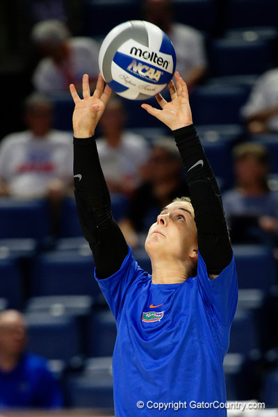 Florida Gators libero Allie Gregory (14)during pregame as the Gators faced the #1 Stanford Cardinals at the Stephen C. O'Connell Center in Gainesville, Florida on September 4th, 2019 (Photo by David Bowie/Gatorcountry)
