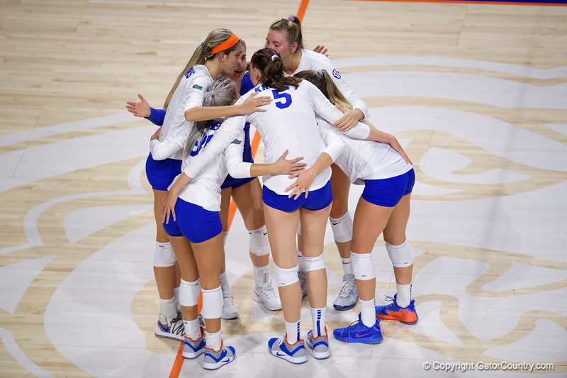 The Florida Gators gather together as the Gators faced the #1 Stanford Cardinals at the Stephen C. O'Connell Center in Gainesville, Florida on September 4th, 2019 (Photo by David Bowie/Gatorcountry)