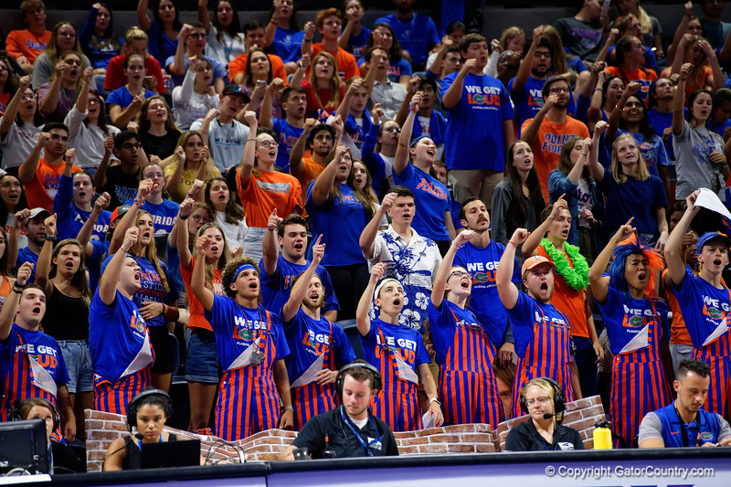 The Rowdy Reptiles as the Gators faced the #1 Stanford Cardinals at the Stephen C. O'Connell Center in Gainesville, Florida on September 4th, 2019 (Photo by David Bowie/Gatorcountry)