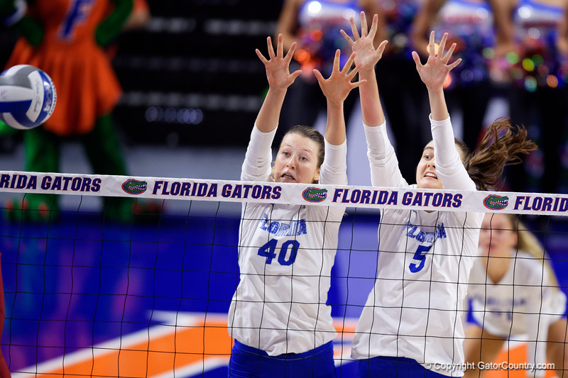 Florida Gators Holly Carlton (40) and Florida Gators middle blocker Rachael Kramer (5)  as the Gators faced the #1 Stanford Cardinals at the Stephen C. O'Connell Center in Gainesville, Florida on September 4th, 2019 (Photo by David Bowie/Gatorcountry)