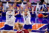 Florida Gators outside hitter Paige Hammons (7) and Florida Gators middle blocker Rachael Kramer (5) attempt a block as the Gators faced the #1 Stanford Cardinals at the Stephen C. O'Connell Center in Gainesville, Florida on September 4th, 2019 (Photo by David Bowie/Gatorcountry)