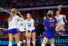 Florida Gators Holly Carlton (40) and Florida Gators setter Marlie Monserez (21) celebrating as the Gators faced the #1 Stanford Cardinals at the Stephen C. O'Connell Center in Gainesville, Florida on September 4th, 2019 (Photo by David Bowie/Gatorcountry)