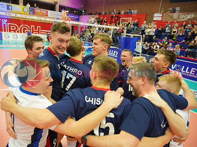 City of Glasgow Ragazzi 1 v 3 City of Edinburgh (23-25, 23-25, 25-22, 22-25), 2019 Men's Scottish Cup Final, University of Edinburgh Centre for Sport and Exercise, Sat 13th Apr 2019.  © Michael McConville   https://www.volleyballphotos.co.uk/2019-Galleries/SCO/National-Cups/2019-04-13-Mens-Cup-Final
