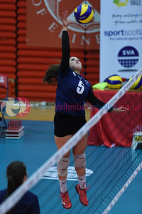 Belmont Academy 1 vs 2 Queensferry HS (16-25, 25-9, 15-1), S5/S6 Girls Schools Cup Final,  University of Edinburgh Centre for Sport and Exercise, 12 April 2019.  © Lynne Marshall  https://www.volleyballphotos.co.uk/2019-Galleries/SCO/Schools/2019-04-12-GSCF/