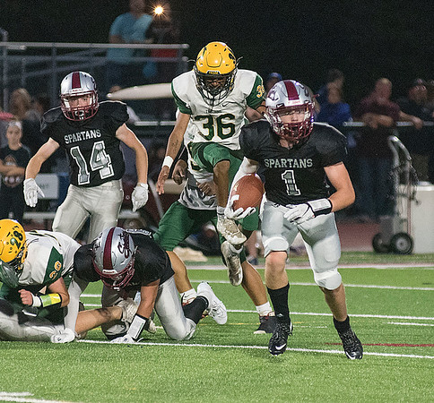 James Neiss/staff photographer <br /> Lockport, NY - Starpoint #1 Joe Carlson runs with the ball in the 1st quarter of football game action against West Seneca East.