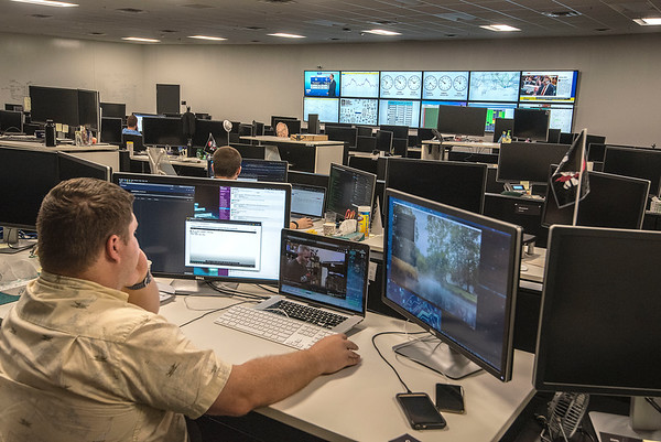 James Neiss/staff photographer <br /> Lockport, NY - Yahoo data center engineer Rob Redman works in the control room.