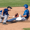 James Neiss/staff photographer <br /> Niagara Falls, NY - Niagara Power #6 Andrew Hanna is safe after stealing second base in the second inning of baseball game action against the Genesee Rapids.