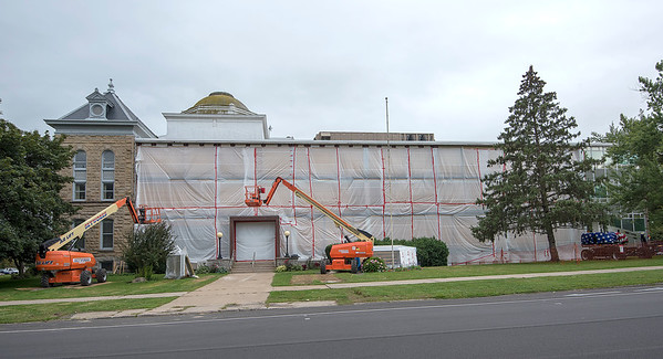 James Neiss/staff photographer <br /> Lockport, NY - Construction is nearly complete on the new front County Building windows as work continues here in the back.