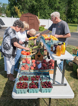 James Neiss/Staff Photographer<br /> Lewiston, NY - Diana Paonessa of Niagara Falls, Doris Hampton of Lewiston and Peggy Biondo of Lewiston pick out some fresh vegetables with help from Dan Copeland of Henry Farm, a participant in the Lewiston Senior Center Health Fair. Many health organizations participated in the day long event at the senior center.