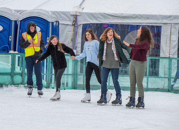 """James Neiss/staff photographer <br /> Lewiston, NY - Family members Olivia Virtuoso, Kristen Nalecz, Maria Virtuoso-Nalecz and Rachel Nalecz enjoyed the afternoon at the Lewiston Family Ice Rink at Centennial Park. The group were visiting family in lewiston for the holidays. For hours of operation visit: <a href=""""https://www.leaguelineup.com/welcome.asp?url=lewistonandporterya"""">https://www.leaguelineup.com/welcome.asp?url=lewistonandporterya</a> for more information."""