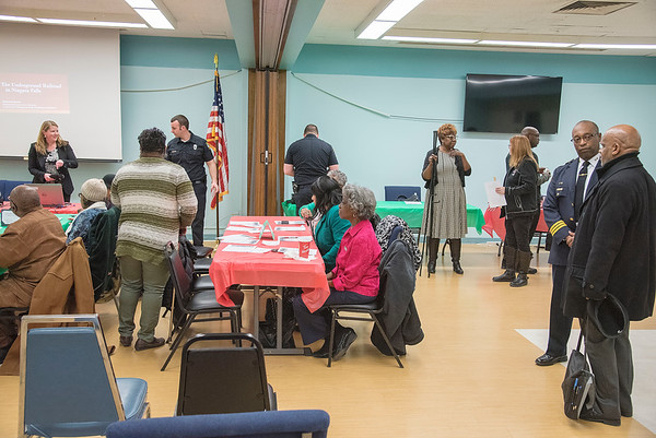 James Neiss/staff photographer <br /> Niagara Falls, NY - Participants mingle at the Niagara Falls Memorial Center Black History Month Health Fair and Luncheon.