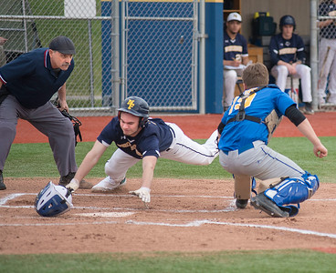 James Neiss/staff photographer  Niagara Falls, NY - Niagara Falls #3 Zachary Brydges slides into home for a run in the first inning of baseball game action against Lockport.