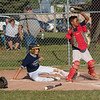 James Neiss/Staff Photographer<br /> Niagara Falls, NY - Whirlpool Yankees #14 Anthony Littere slid into home for a run in the 4th inning of the city championship against the Red Sox.