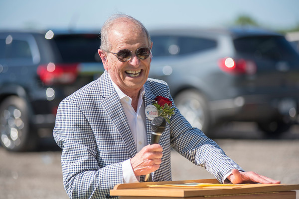 James Neiss/staff photographer <br /> Lockport, NY - Former Village of Lewiston Mayor Dick Souluri was all smiles talking to friends and relatives that showed up to the park dedication in his name.