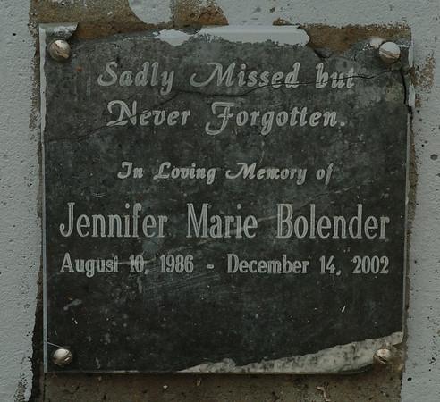 060824 bolender damage2 /nfg<br /> DAN CAPPELLAZZO/STAFF PHOTOGRAPHER<br /> Niagara Falls - The damaged plaque at the Jennifer Bolender Memorial Overpass.