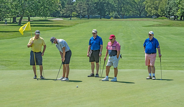 James Neiss/staff photographer <br /> Lewiston, NY - Contestant Johnny Travale of Hamilton Ontario, second from left,  plays a round of golf with, from left, Bob Mariacher of Elma, Joe Armenia of Amherst, Jim Dolce of Tonawanda and Tom Vogel of Grand Island during the Niagara Falls Country Club Porter Cup Ham Am.