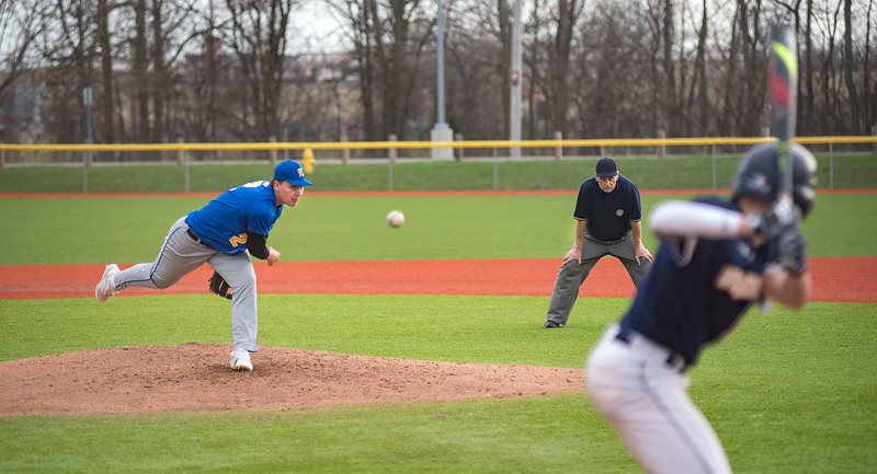 James Neiss/staff photographer  Niagara Falls, NY - Lockport pitcher #2 Andrew Gault, pitches the ball in the fourth inning of baseball game action against Niagara Falls.