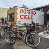 James Neiss/staff photographer <br /> Niagara Falls, NY - Rod Gillis of Hotrod Cycle at 2621 Pine Avenue, had balmy 60º weather to display his assortment of bicycles for sale in front of his store. (Editor's Note: If you want to talk to him, he's an interesting guy. 370-9098)