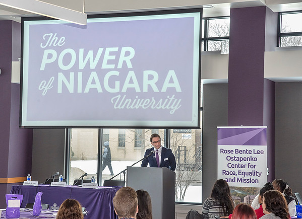 James Neiss/Staff Photographer<br /> Niagara Falls, NY - Mark Frascatore, Ph.D. Dean, College of Business Administration, welcomes attendees to the Niagara University Race and Economic Equity Summit at the Russell J. Salvatore Dining Commons. The program was presented by the Rose Bente Lee Ostapenko Center for Race, Equality and Mission and the College of Business Administration.